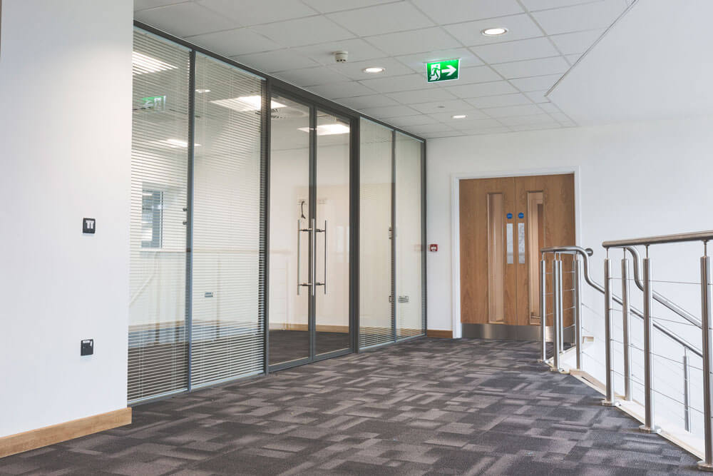 Full height glass doors