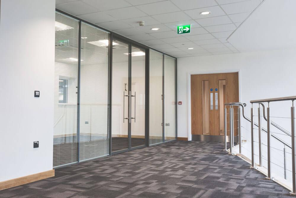 Full height glass doors