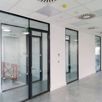 embellishments on glass partition