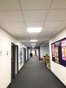suspended ceiling in school corridor